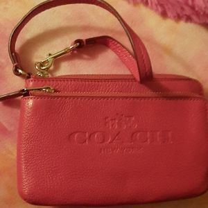 Coach dark-hot-pink wristlet!!